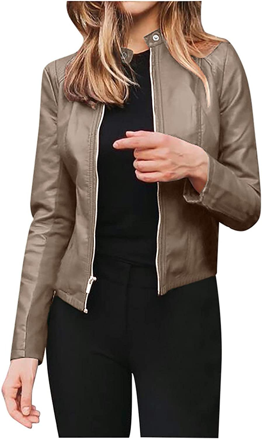 Slim Max Raleigh Mall 54% OFF Faux Leather Jacket Zip Up Long Coat Sleeve for Short Women