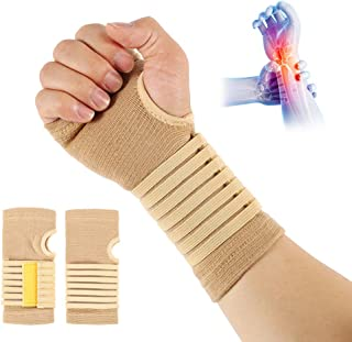 Carpal Tunnel Wrist Brace Pair with Adjustable Compression Strap Hand Palm Wrist Support for Carpal Tunnel Tendonitis Wris...