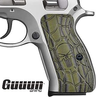 Guuun CZ 75 Compact Grips G10 Material Cobweb Texture Punisher Skull Style fit CZ P-01, Canik 55, P100,C100,T100, PCR, CZ 75 D, CZ 75 85 Compact Pistol Grips