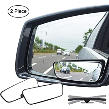 AUDEW 2 Pack Square Blind Spot Mirror 360 ABS Glass For All Universal Vehicle...