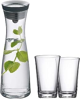 WMF Basic Wasserkaraffe Set 3-teilig, Karaffe 1l mit 2 Wassergläser 250ml, Glaskaraffe mit Deckel, Silikondeckel, CloseUp-Verschluss