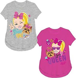 Nickelodeon Girls 2 Pack T-Shirt set Jojo Siwa Shine On Gray heather T-Shirt and Jojo Siwa Yas Queen Pink T-Shirt