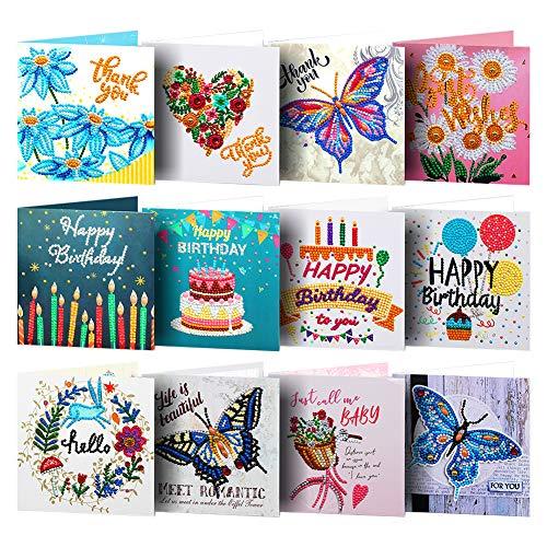 Tarjetas de felicitación 5D con pintura de diamante para cumpleaños, festival, decoración de regalo (A)