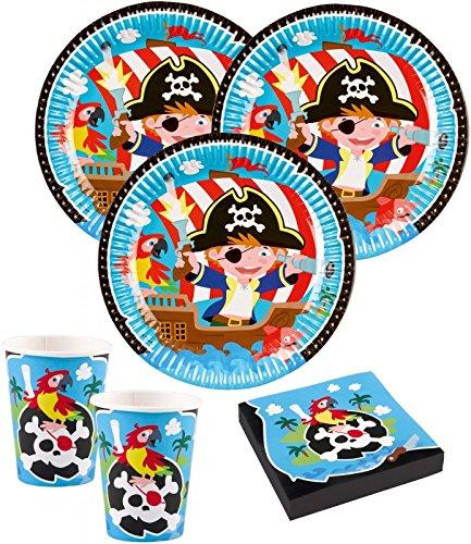 Juego de decoración para fiestas de piratas (36 piezas, 8 niños)