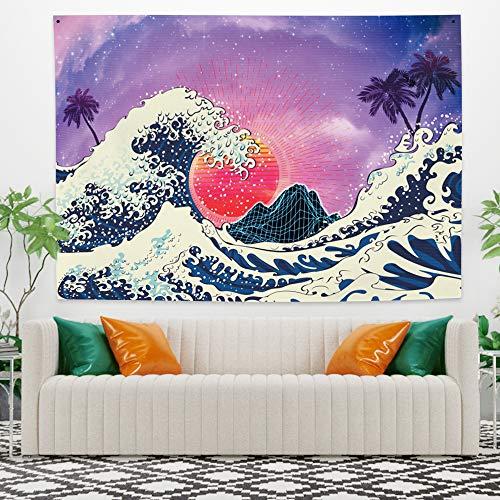 Yongto The Great Wave Wandteppich, 149,1 x 100,1 cm, Wandbehang 'The Great Wave Off Kanagawa', japanisches Passepartout, Fuji-Wanddekoration für Schlafzimmer