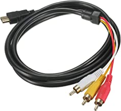 Alotm HDMI to RCA Cable, 5FT/1.5M HDMI Male to 3-RCA Video Audio AV Component Transimission Adapter Cable for HDTV, Red-Yellow-White Wire