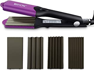 DSHOW 4 in 1 Hair Crimper Hair Waver Hair Straightener Curling iron with 4 Interchangeable Ceramic Flat Crimping Iron Plat...
