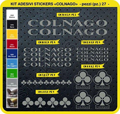 Adesivi Bici COLNAGO Kit Adesivi Stickers 27 Pezzi -Scegli SUBITO Colore- Bike Cycle pegatina cod.0092 (Grigio Medio cod. 074)