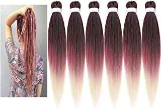 Newluyang Ombre Easy Braid Pre Stretched Braiding Hair Extensions,three Tone Color 26inch 6 packs Professional Itch Free H...