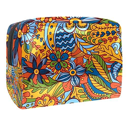 Bolsa de cosméticos para Mujeres Arte Abstracto Flor de Graffiti Bolsas de Maquillaje espaciosas Neceser de Viaje Organizador de Accesorios