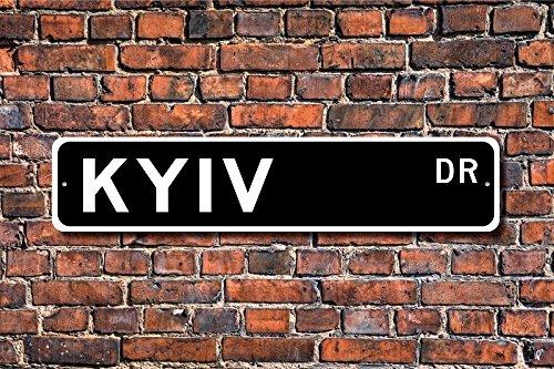 Fhdang Decor Cadeau de Panneau de Kiev, Kiev, Kiev, Kiev Visiteur, Souvenir de Kiev, Ville de capitole de l'Ukraine, Kiev natif, Plaque de Rue personnalisée, Plaque en métal, 10,2 x 45,7 cm