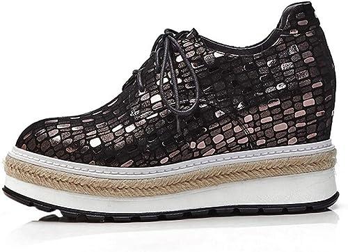 CJC Chaussures Chaussures en Peau de Mouton pour Femmes Chaussures Rondes à Bout Plat et à Lacets Chaussures à Lacets à Semelles épaisses (Couleur   1, Taille   EU35 UK3)
