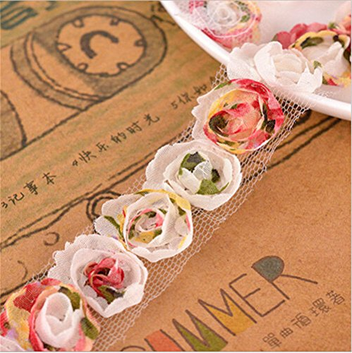 2 Yards Chiffon Organza Colourful Rose Flower Lace Edge Trim Ribbon 2 cm Width Vintage Edging Trimmings Fabric Embroidered Applique Sewing Craft Wedding Dress Embellishment Clothes Decor Embroidery