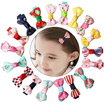 Handmade Fully Lined Hair Clips Hair Bows Grosgra nuosen 40 Pcs Hair Bows Clips