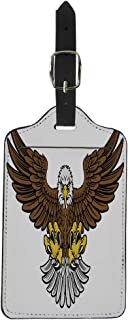 Pinbeam Luggage Tag Cartoon Bald American Eagle Mascot Swooping Claws Out Suitcase Baggage Label