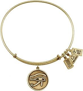 Brass Eye of Horus Charm Bangle Bracelet, Adjustable 6.5