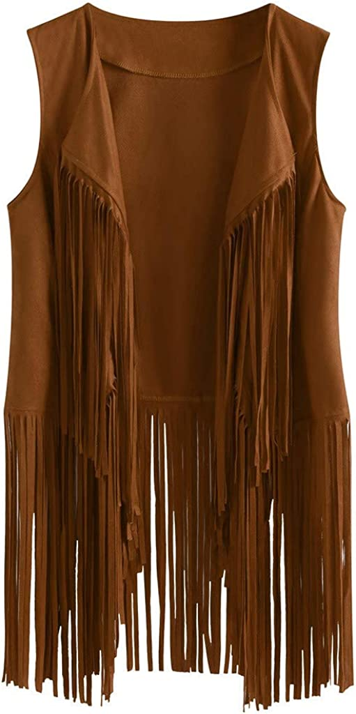 Kulywon Fringe Limited price Max 75% OFF Vest for Women 70s Suede Faux Tassels Ethnic