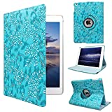 ipad 4 Generation case Rotating ipad 3 ipad 2 case for Ipad Model A1458 A1430 A 1416 Md510ll /A Mc979ll/A with Screen Protector Stand Smart Covers Support Wake/Sleep Function (Blue Embossed Flower)