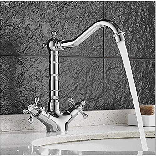 Grifos de lavabo Grifo de lavabo de latón cromado y negro Grifo doble giratorio Mezclador de agua caliente Grifo de baño