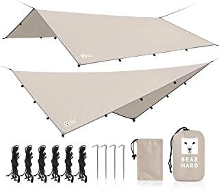 Bearhard Rain Fly Camping Tarp 10x12ft /10x10ft Hammock Fly Include 6 Ropes and 4 Stakes Lightweight Waterproof Tent Tarp ...