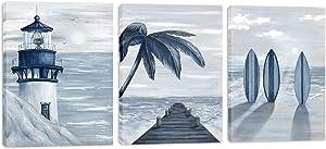 HOMEOART Blue Beach Wall Art Prints Ocean Pier Coastal Dock Seascape Lighthouse Painting Nautical Theme Framed Stretched Artwork Living Room Home Wall Decor 12