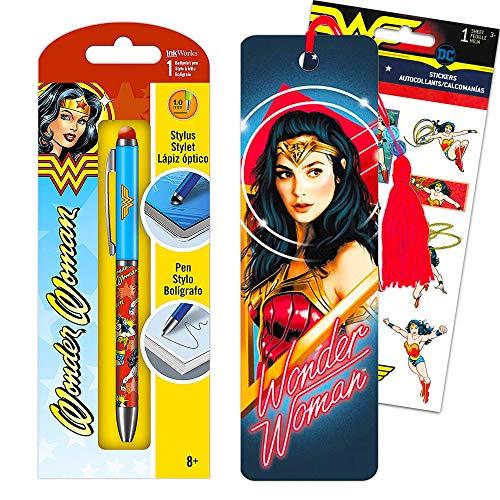 Wonder Woman Pen Bookmark Bundle Set ~ Premium Wonder Woman Ballpoint Pen with Stylus, Wonder Woman 1984 Bookmark, and Wonder Woman Stickers (Wonder Woman Office Supplies School Supplies)