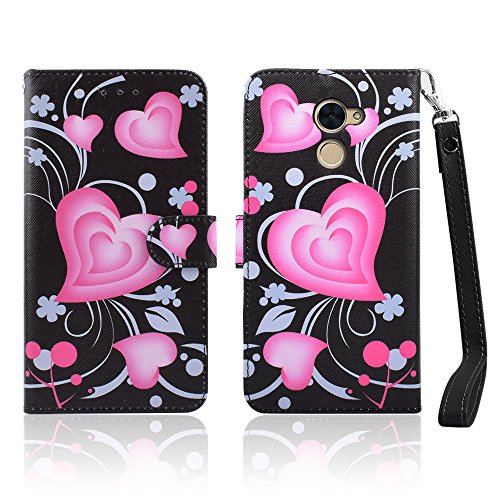 for Huawei Ascend XT2, H1711, Huawei Elate 4G LTE PU Leather Credit Card Slot Holder Flip Folio Kickstand Wallet Case with Wrist Strap [Free Emoji Keychain!] (3D Heart Beat)