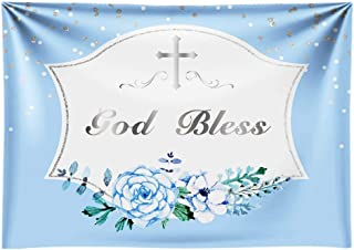 Funnytree 7X5FT First Communion Baptism Backdrop Blue Boys Banner Background god Bless photobooth