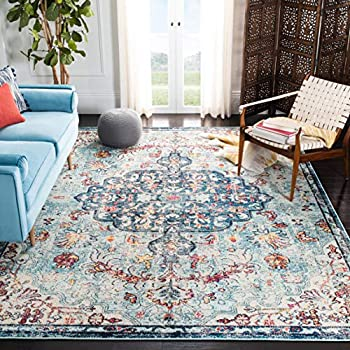 Safavieh Madison Collection MAD447K Boho Chic Medallion Distressed Non-Shedding Stain Resistant Living Room Bedroom Area Rug 9  x 12  Navy / Light Blue
