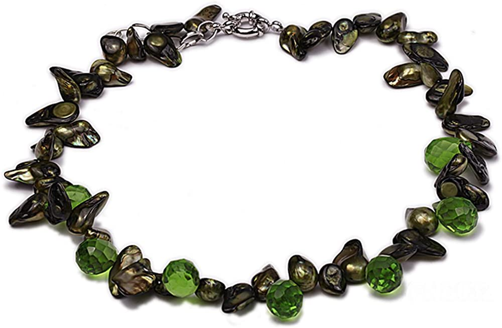 JYX Pearl Single Strand Necklace 8-10mm Green Black Irragular Baroque Pearl Necklace with Green Drop Faceted Round Crystal for Women 17