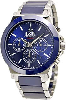 【国内正規品】ELGIN エルジン 腕時計 セラミック クロノグラフ メンズ ブルー FK1417C-BL-1