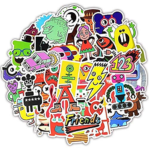 50 Stück Monster Doodle Aufkleber Lustige Graffiti Cartoon Charakter Roboter Aufkleber für DIY Gepäck Laptop Fahrrad Skateboard Gitarre F5