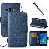 J1 2016 Case,Galaxy J120 Case,LEECOCO Fancy 3D Relief Embossed Wallet Case with Card/Cash Slots [Kickstand] Shockproof PU Leather Flip Case Cover for Samsung Galaxy J1 2016 Elephant Blue