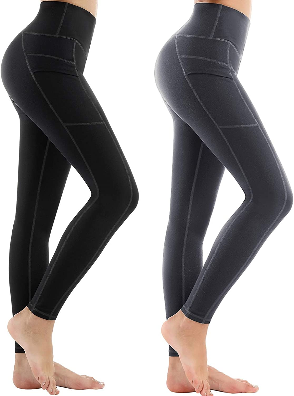LifeSky High Waist Yoga Pants with Pockets Tummy Control 4 Way Stretch Workout Pants Womens' Active Leggings  Black & Grey