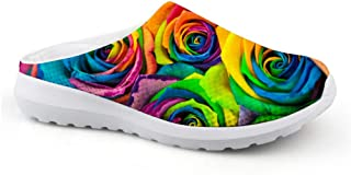 Men's Slippers Mesh Width Clogs Beach Shoes Rainbow Colours Roses Flowers Print Breathable Sandals Unisex Casual Shoes Clo...