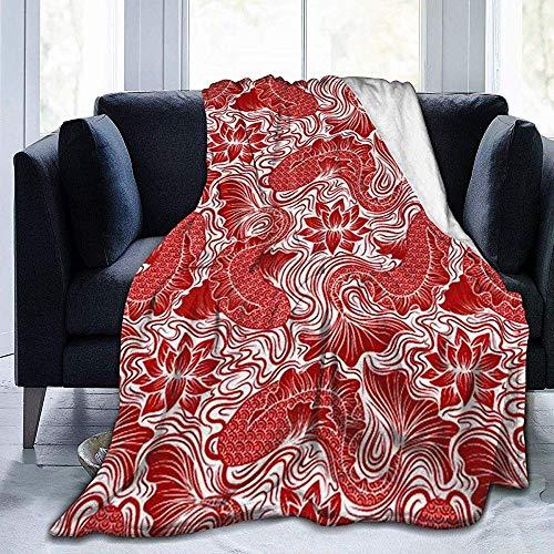 ZAlay Decke Red Koi Pond Lotus Flower Decke Super Soft Luxurious Warm Four Seasons
