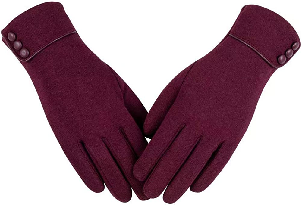 Womens Winter Warm Gloves, Touchscreen Texting Fleece Lined Windproof Driving Gloves Hand Warmer By Alepo (Burgundy-M)