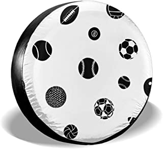 All agree Spare Tire Cover Sports Balls American Football Universal Car Rear Tire Covers RV Wheel Cover Tires Protectors for Camper, Trailer, SUV, Truck, Boat, Motorhome, Waterproof