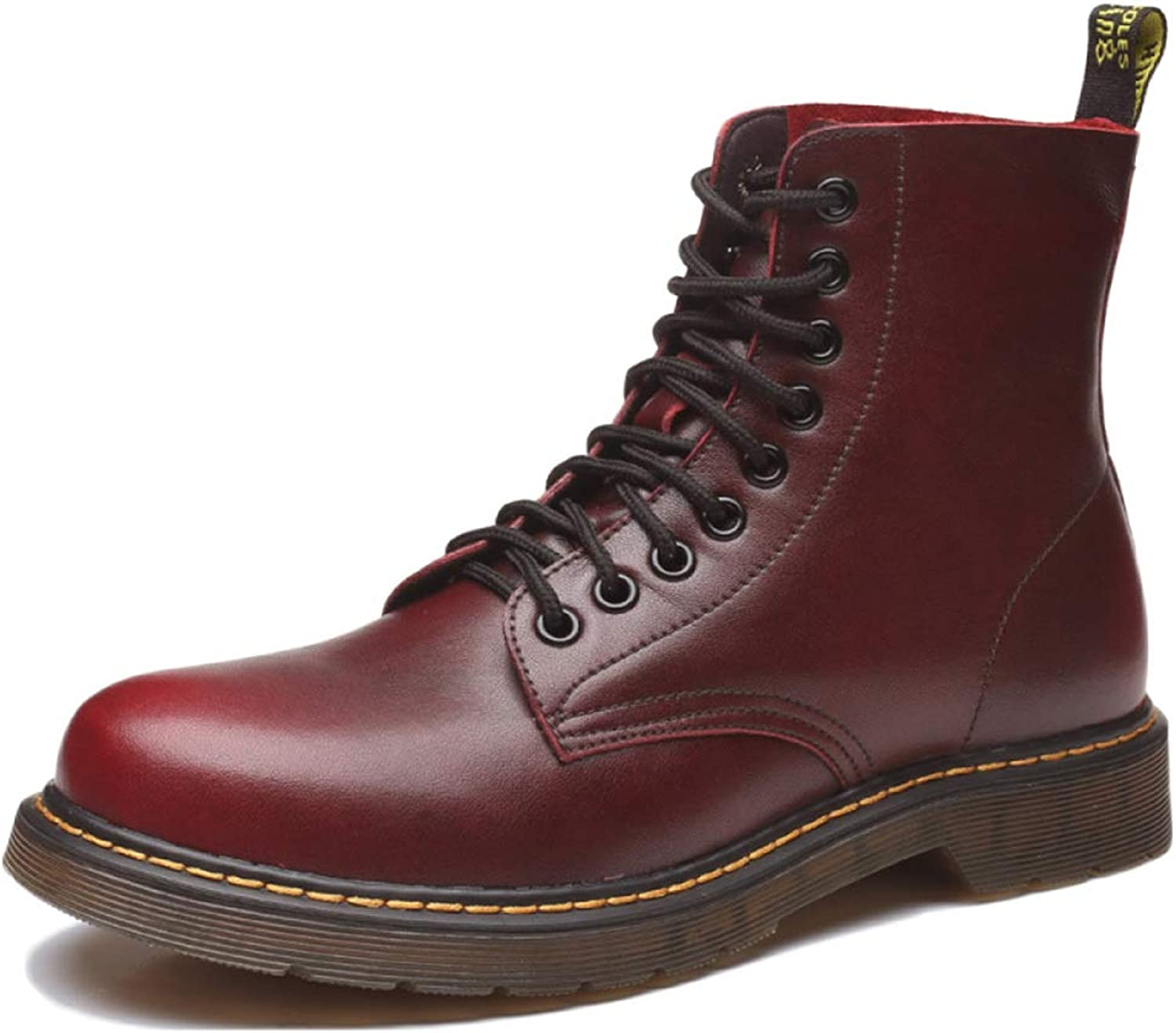 DSFGHE Martin Boots Men's Adult Boots Leather Military shoes Autumn and Winter Plus Velvet Outdoor Non-Slip Breathable Boots
