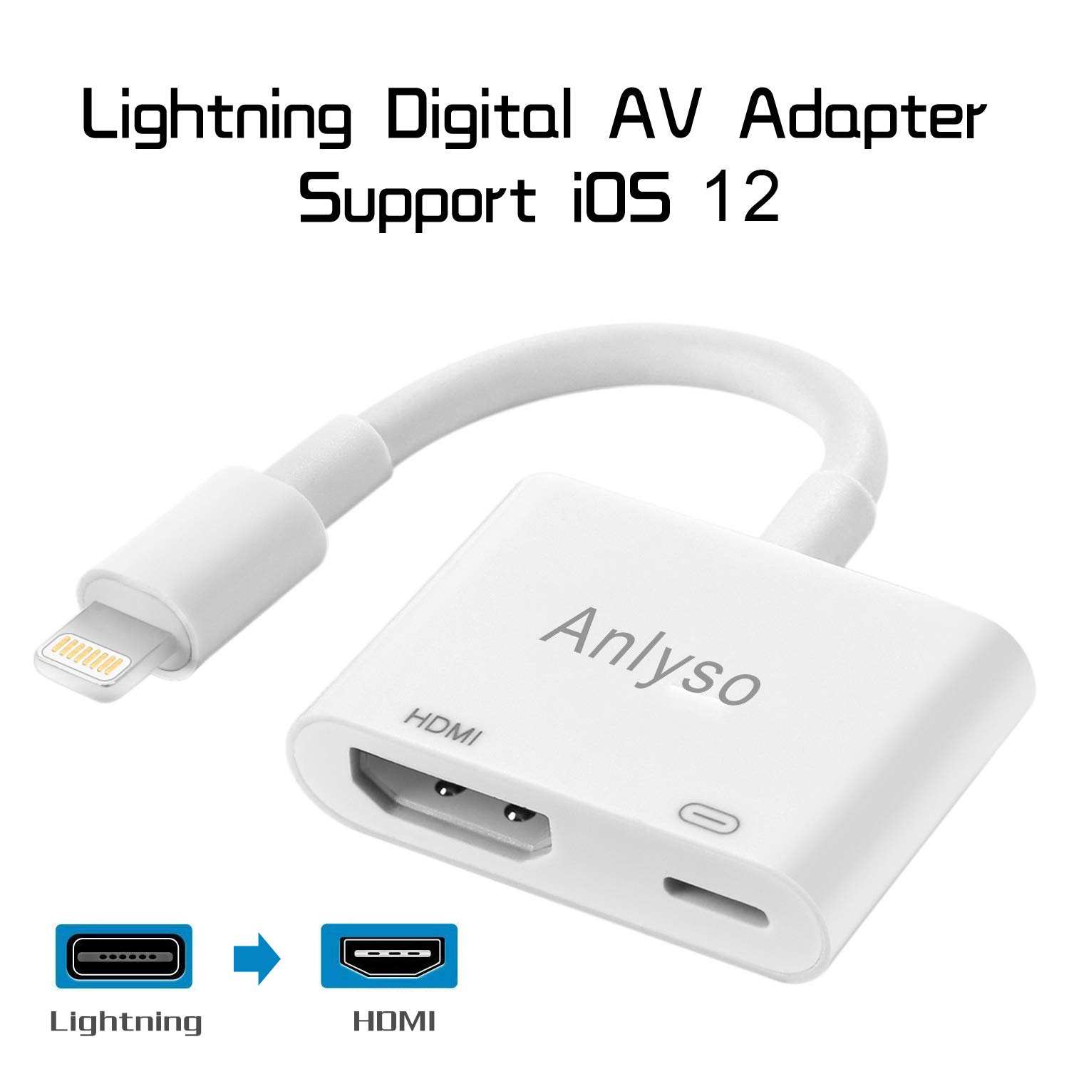 1080P Light To HDMI Digital AV TV Cable Adapter For iPad iPhone Xs XR X 8 7