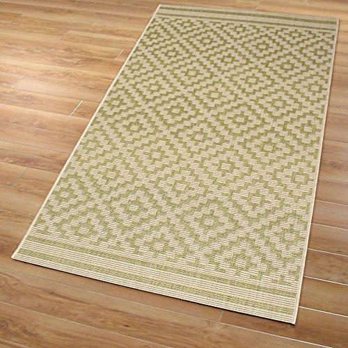 Domdeco In- und Outdoor-Teppich Diamond Raster Green M 80 x 150 cm Kunststoff für Innen und Außen
