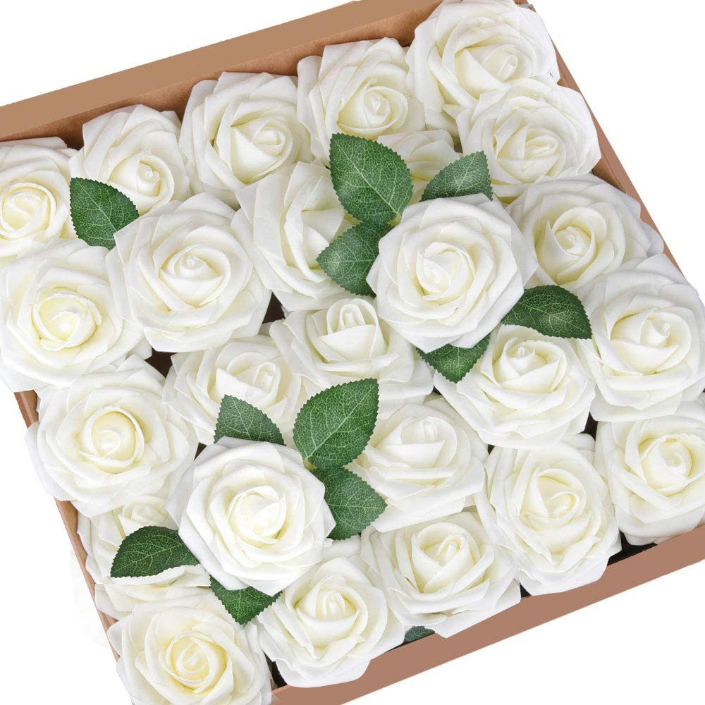 Mocoosy 50Pcs Artificial Rose Flowers fo White Limited Special Price Roses Purchase Ivory Fake