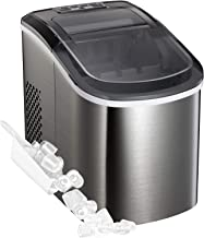Portable Automatic Ice Maker Stainless Steel Countertop Ice Machine, Makes 26 lbs of Ice per 24 Hours, 9 Ice Cubes Ready in 7 Minutes, with Ice Scoop and Basket