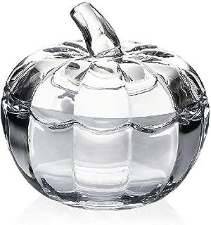 YSMYWM Vintage Pumpkin Shaped Clear Glass Candy Jar Food Snacks Storage Container Sugar Bowl Spice Jar with Lid