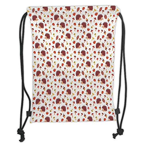 LULUZXOA Gym Bag Printed Drawstring Sack Backpacks Bags,Mushroom,Cute Autumn Inspired Pattern with Natural Elements Hedgehogs Acorns and Apples Decorative,rin
