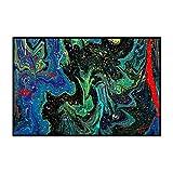 Alfombra Moderna para Salón, Patrón Creativo Verde Azul Negro, Alfombra De Salón Moderna, Alfombras Mullidas de Interior Súper Suaves y Mullidas para Salón Dormitorio, 80 x 160 cm