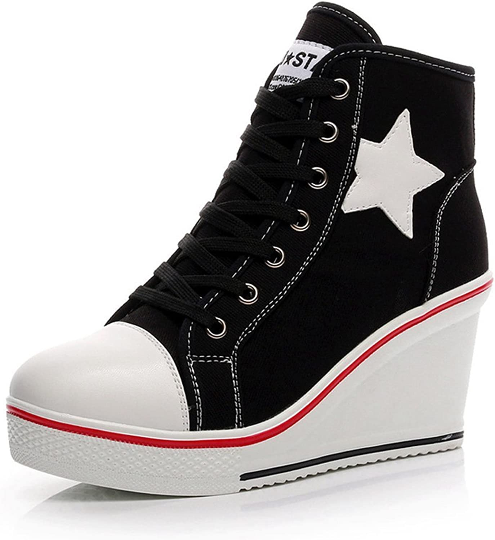 Women Wedge Sneakers Canvas High Top Hidden Heels Casual Elevator Platform shoes Ankle Boots