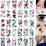 60 hojas 3D mariposa tatuajes temporales arte corporal pegatina flor letras dibujos animados perro tatuajes falsos infinito tatuaje para mujeres, niños flor tatuaje