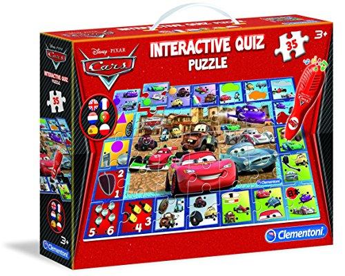 Clementoni - 13830-Puzzle Quiz Interactif - Cars 2-Jeu éducatif