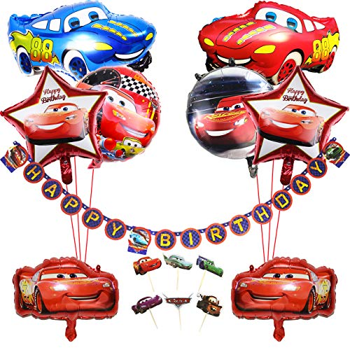 Kreatwow Car Birthday Party Supplies for Boys with Vehicle Theme Insegna Buon Compleanno, Palloncini Foil Auto, 1 ° 2 ° Festa di Compleanno